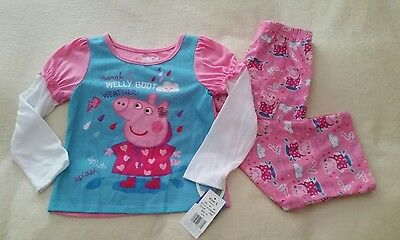 "NWT Peppa Pig Size 4T ""Hooray 4 Welly Boot Weather"" Girls Lightweight Pajamas"