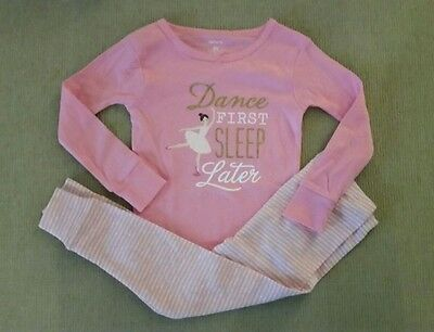 "Carter's 2T Girl's 2-piece Pink 100% Cotton ""Dance First Sleep Later"" Pajamas"