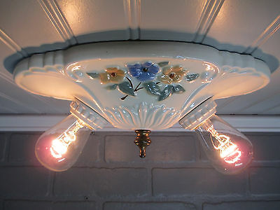 Vintage Antique Flush Mount Ceiling Light Fixture Art Deco Porcelain Floral 10""