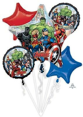Avengers Captain America Shield Happy Birthday Party 5CT Foil Balloon Bouquet