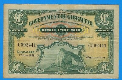 1938 Government of Gibraltar 1 One Pound Note P-15a World Currency Banknote