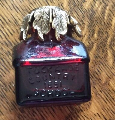 Vintage Wheaton Ruby Red Tuckahoe Country School 1891 Ink Well Glass Bottle