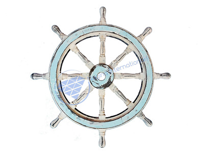 "Ocean Blue White Beautiful Vintage Style 24"" Nautical Wooden Ship Wheel - Nagina"