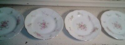 4 German Porcelain Butter Pat Dishes Pink Floral 3 1/2""
