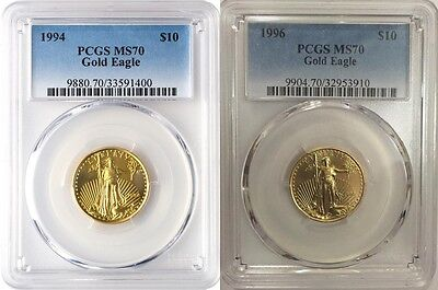 1994 & 1996 $10 GOLD EAGLE PCGS MS70 VERY LOW POP 19 & 15 Low Mintage