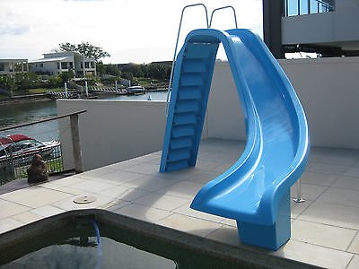 Fibreglass Pool Water Slide with non-slip steps and Water jet