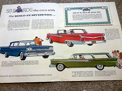 "Original 1959 FORD ""Built-In Dividends"" brochure catalog Scarce, excellent cond."