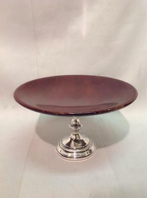 Antique / Vintage Sterling Silver And Mahogany Tazza Compote Weighted