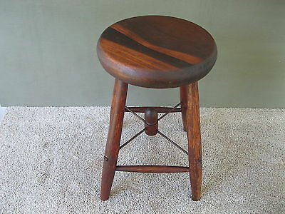 "Antique Stool Primitive Country Style, Pine/Oak Wood 18"" Tall 4-Leg Bench, Table"