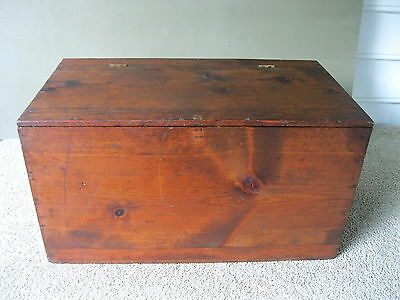 Antique Chest Box Vintage Pine Wood Blanket Primitive Brass Hinged Lid