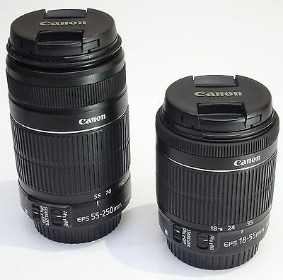 AS NEW Canon EFS 55-250mm f/4-5.6 IS 11+ EFS 18-55 f3.5-5.6 IS STM DSLR Lens (2)