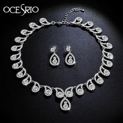 Jewelry Sets Crystal Wedding Water Drop Choker Necklace Drop Earrings for Women