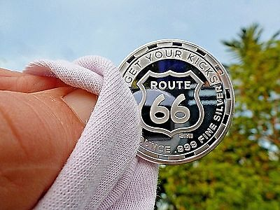 """1 oz Silver Round  """" Get Your Kicks On Route 66""""  1- Troy Ounce .999 Fine Silver"""