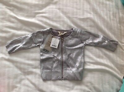 Baby Girls Cotton On Silver Metallic Cardigan Size 00 Or 3-6 Months