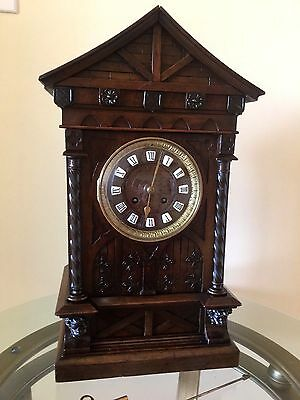 MANTLE CLOCK CASTLE CARVED WALNUT CASE S. MARTI  circa 1900