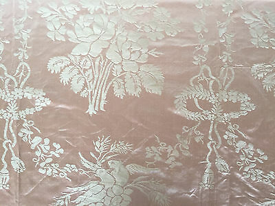 Gorgeous Antique French Victorian Rose Silk Floral Damask Fabric ~ Home Dec