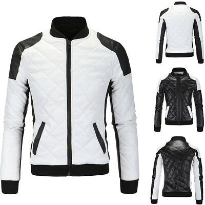 Men's Genuine Lambskin Leather Jacket Slim Fit Biker Motorcycle Warm Coat
