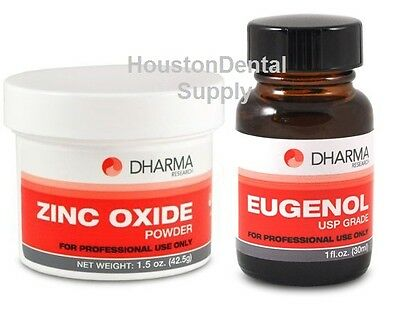 Dental Zinc Oxide Powder 1.5 Oz AND Eugenol Liquid1 oz USP Dental Grade ZOE Base