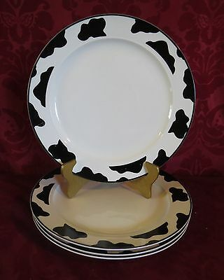 4 Intro Stoneware Tienshan Spotted Cow Dinner Plates