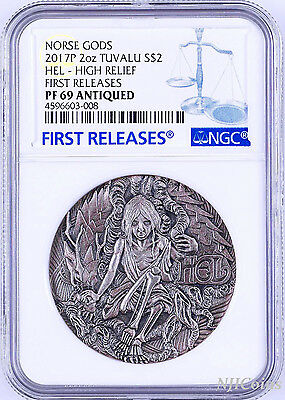2017 P Norse Goddesses Hel HIGH RELIEF ANTIQUED 2Oz Silver $2 COIN NGC PF69 FR