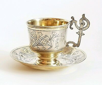 Antique Russian Gilt Silver Cup Saucer Pan Slavic Style
