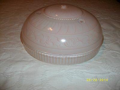 Antique glass ceiling light fixture shade 3 hole mount pink pattern