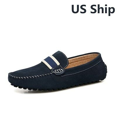 Men's Suede Loafers Webbing Slip On Flat Moccasins Driving Car Shoes Navy US8.5