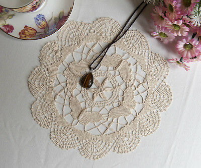 Vintage Style Exquisite Butterfly Hand Bobbin Lace Cotton Doily Round 25CM Beige