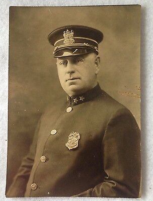 Vintage Chief of Police Albany New York Photo Hat Badge Uniform