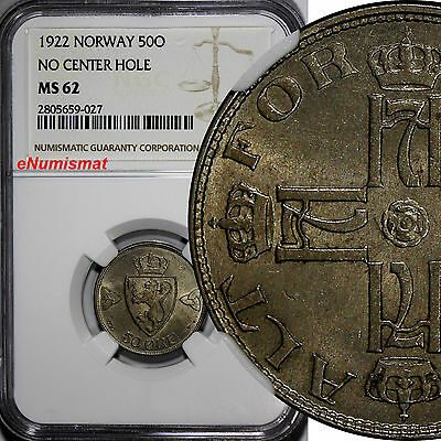 NORWAY Haakon VII 1922 50 Ore NGC MS62 NO CENTER HOLE LIGHT TONED  KM# 379