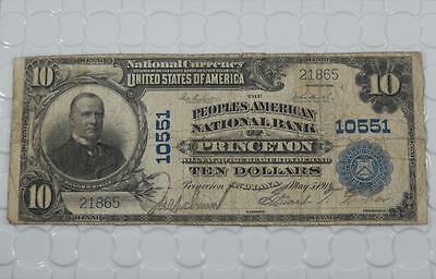 Series 1902 $10 Ten Dollar National Bank Note 10551 Princeton Indiana P0048