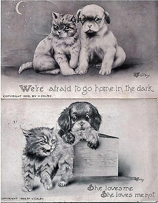 2 x Vintage Postcards with Cats and Dogs, V. Colby c.1909 Used