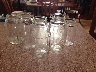Five Old  Antique Vintage  Clear Glass Pickle Jars W/ Barrel Shape Pattern