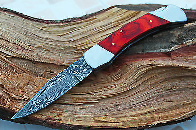 DAMASCUS CUSTOM HANDMADE FOLDING KNIFE w/LOCK BACK,FILE-WORK,LOCK BACK,CD-ab-49-