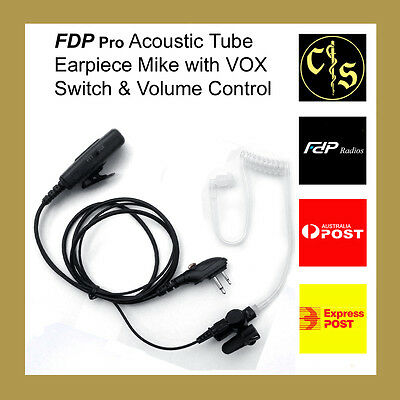 FDP Pro Acoustic Tube Earpiece Mike with VOX Switch and Volume Control