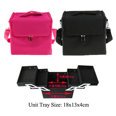 Large Cosmetic Makeup Train Bag Professional Travel Toiletry Organizer Case Tray