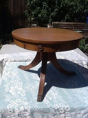 Vintage End Table with claw feet 3 legs round has a drawer Beautiful Collectable