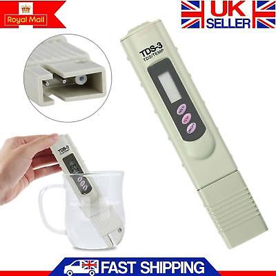 Digital TDS Tester Water Quality Purity Meter TEMP PPM Test Filter Pen Stick UK
