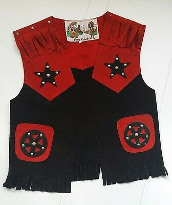 Pony Ranch Red Black Western Cowboy Suede Leather Fringed Vest Kids M