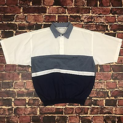 Vintage Pierre Cardin Striped Colorblock Polo Shirt Mens M/L Tennis Tee T-Shirt