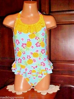 Girls One Piece Circo Halter Skirted Swimsuit, Tropical, Size 2 Toddler, NWOT