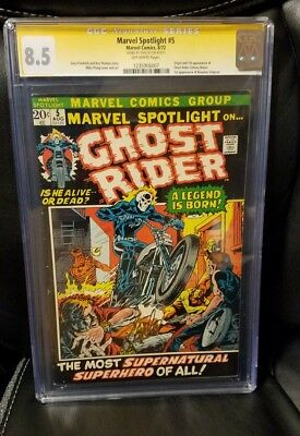 Marvel spotlight #5 First appearance of Ghost Rider CGC 8.5 Signed by Stan Lee