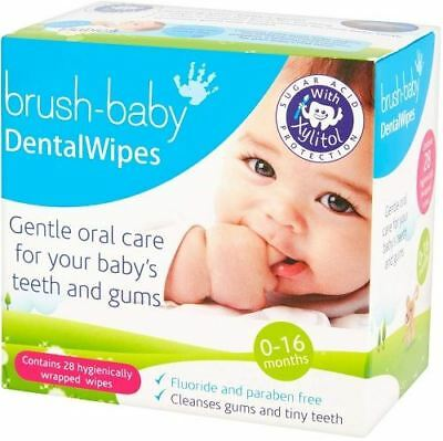Brush Baby Dental Wipe Sleeve 0-16 Months - 28 Wipes Per Pack x 4 Pack