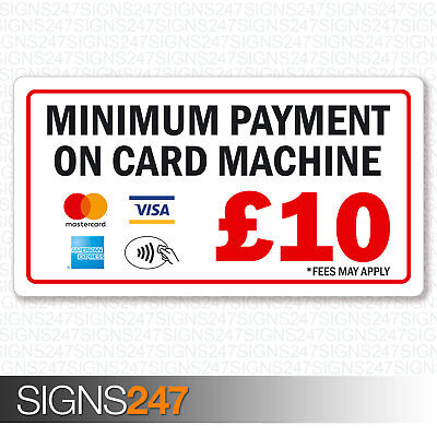 Minimum Payment £10 Sticker Mastercard AMEX Visa Contactless Printed Vinyl