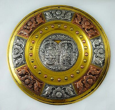 Antique Indian Brass Plate - Applied Copper & Silver Deity decoration