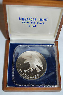 1974 Singapore Eagle Hawk S$10 silver proof coin