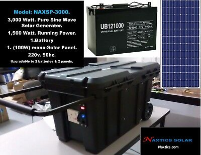 3K Pure Sine Wave Solar Generator.1,500 Continuous Power 220v. 50Hz.