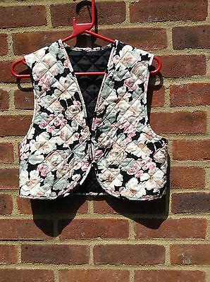 Vintage Original 70s Quilted Cropped Waistcoat Floral Hippy Boho Festival Chic S