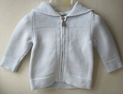 Baby Dior Blue Wool Hooded Cardigan 3 Months