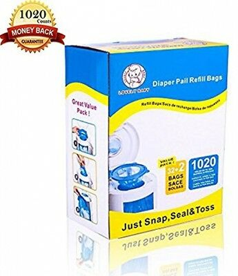 Diaper Pail Refill Bags Fully Compatible Arm & Hammer Disposal System 1020 Count